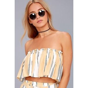 Faithfull the Brand Gardner Beige Striped Crop Top
